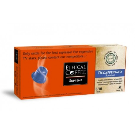 Decaffeinato SUPPREME capsules Ethical-coffee compatibles Nespresso®