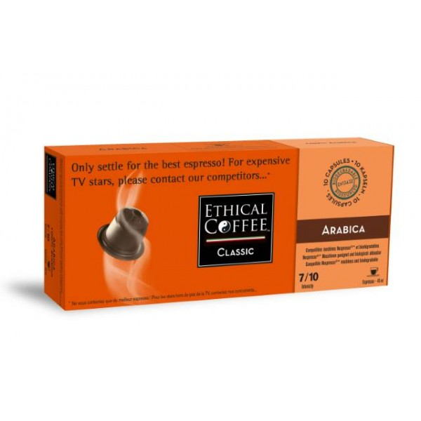 Arabica, biodegradable and Nespresso® compatible capsules
