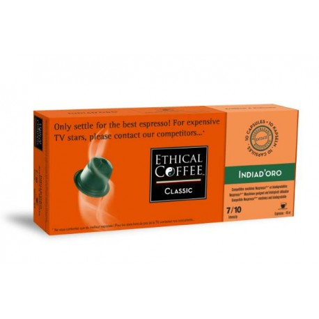 India D'oro Ethical Coffee capsules biodégradables compatibles Nespresso®