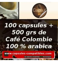 Pack 100 pods compatible Capsul'in + 500 grs Colombia