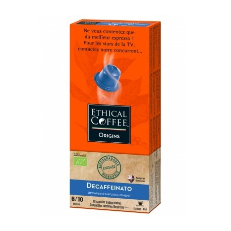 Decaffeinato Organic biodegradable capsules compatible Nespresso ® Ethical coffee