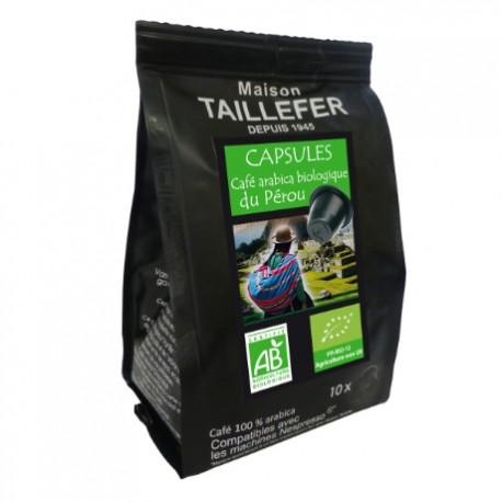 Maison TAILLEFER capsules compatibles Nespresso ® Arabica bio du Pérou