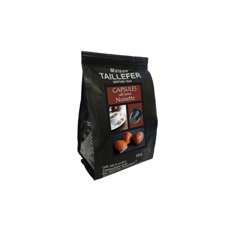 Hazelnut flavour by Maison TAILLEFER Nespresso® compatible capsules.