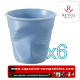 Lot de 6 tasses espresso REVOL froissées couleur Bleu satine