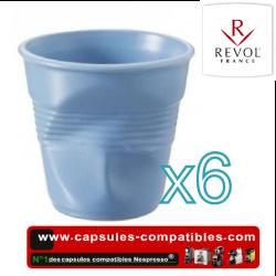Set of 6 espresso cups crumpled Revol blue