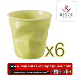 Set of 6 espresso cups crumpled Revol satin yellow