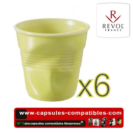Lot de 6 tasses espresso REVOL froissées couleur jaune satine