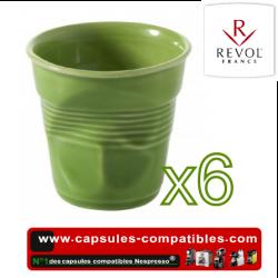 Lot de 6 tasses espresso REVOL froissées couleur vert lime