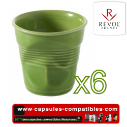 Set of 6 espresso cups crumpled Revol lime green