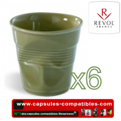 Set of 6 espresso cups crumpled Revol savane