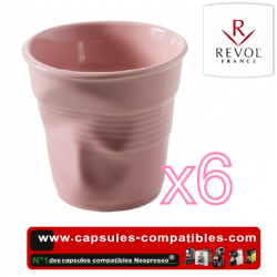 Set of 6 espresso cups crumpled Revol pink