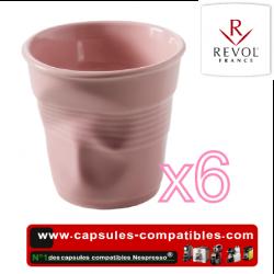 Set of 6 espresso cups crumpled Revol pink