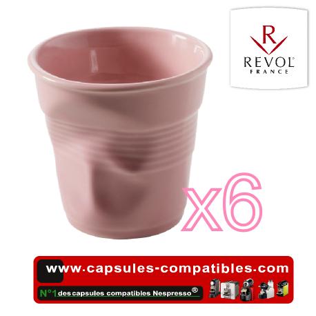 Lot de 6 tasses espresso REVOL froissées couleur rose