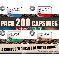 Pack 200 capsules RELIEF compatibles Nespresso ® livraison GRATUITE
