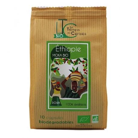 Capsules Moka d'Ethiopie Bio compatibles Nespresso ® Le Temps des Cerises