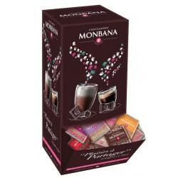 Boite distributrice de 200 carrés de chocolat au lait MONBANA 5 saveurs