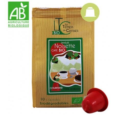 Capsules Noisette Bio compatibles Nespresso ® compostable, Le Temps des Cerises