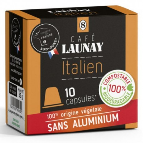 Capsules Italien Bio, compatibles Nespresso de Café Launay