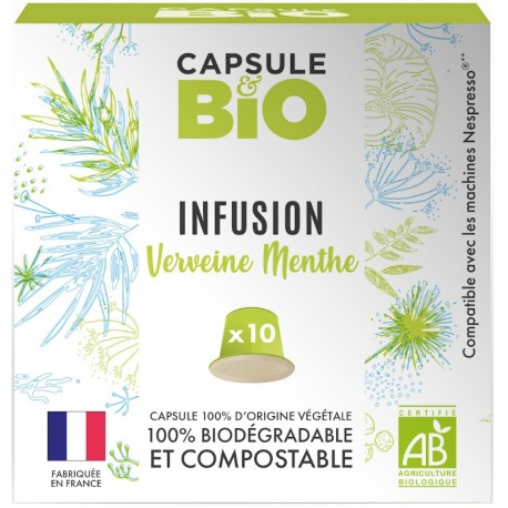 Capsules bio verveine menthe compatibles Nespresso®