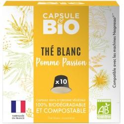 Capsules biodégradables de Thé Blanc Bio compatibles Nespresso ® Pomme passion