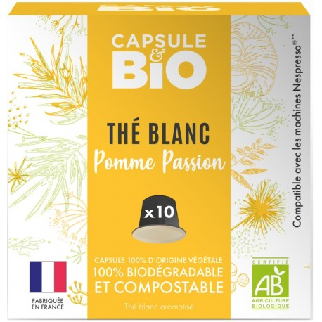 Capsules biodégradables de Thé Blanc Bio compatibles Nespresso ®