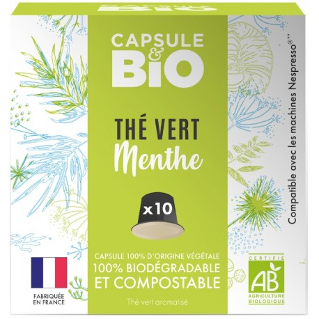 Capsules bio Thé Vert Menthe Bio compatibles Nespresso ®