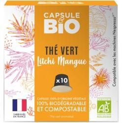 Capsules bio Thé Vert Litchi Mangue Bio compatibles Nespresso ®