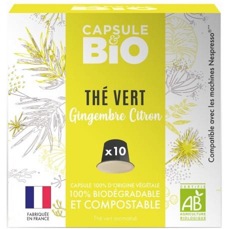Capsules bio Thé Vert Gingembre Citron Bio compatibles Nespresso ®