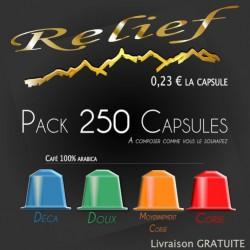 pack 250 capsules RELIEF compatibles Nespresso ® livraison gratuite