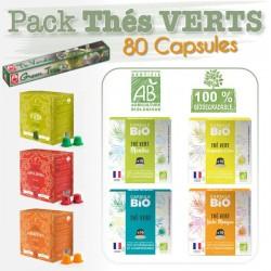 Pack de capsules Thés Verts compatibles Nespresso ®
