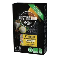 Capsules Biodégradables compatibles Nespresso ® Ethiopie de Destination Bio