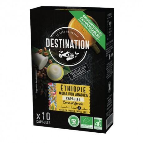 Capsules Biodégradables compatibles Nespresso ® Moka de Destination Bio
