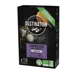 Capsules Biodégradables compatibles Nespresso ® Expresso Bio de Destination