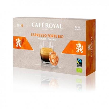 50 Organic Royal Espresso Forte coffee capsules compatible with Nespresso PRO®