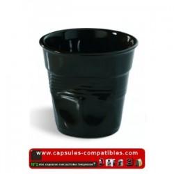 Lot de 6 tasses espresso REVOL froissées couleur Chocolat / noir
