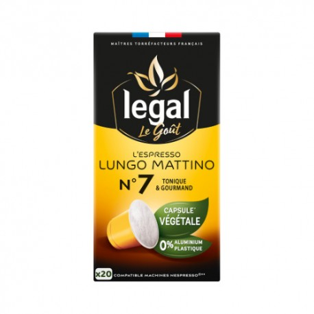Capsules biodégradables Legal Lungo Mattino compatibles Nespresso ®
