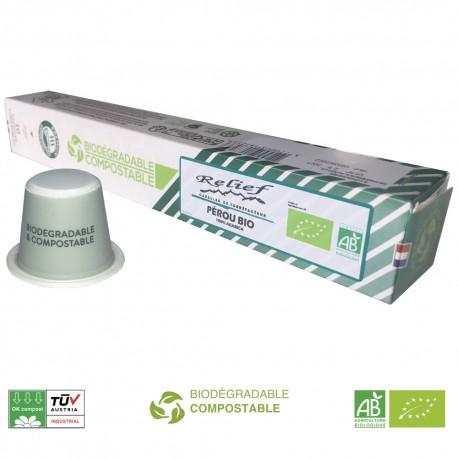 Capsules biodégradables Pérou Bio compatibles Nespresso ® de la marque Relief