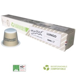 Biodegradable lungo capsules compatible with Nespresso ® Relief