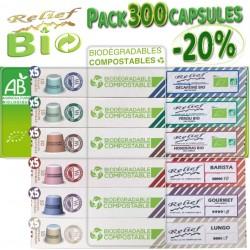 -20% sur le pack de 300 capsules biodégradables compatibles Nespresso ® de Relief