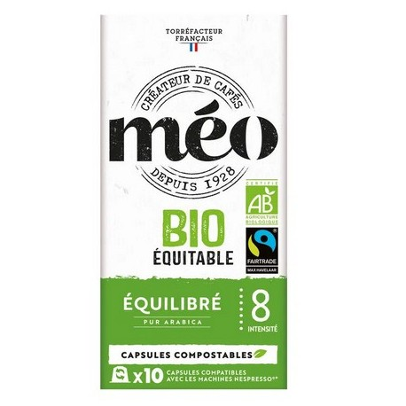 Organic Fairtrade by Méo, Nespresso® compatible coffee capsules.