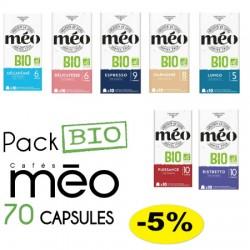 Pack de 70 capsules compatibles Nespresso ® certifiées agriculture Bio.