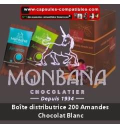 Boite distributrice 200 amandes enrobées chocolat blanc