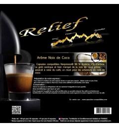 Coconut flavour by Relief, Nespresso® compatible coffee capsules.