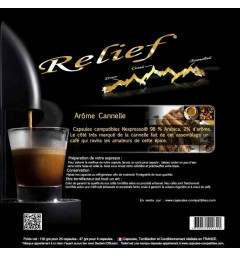 Cinnamon flavour by Relief, Nespresso® compatible coffee capsules.