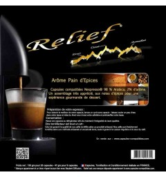 Spicy bread flavour by Relief, Nespresso® compatible coffee capsules.