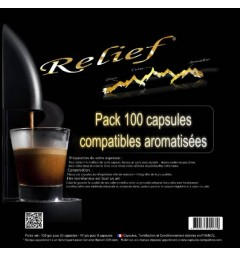 Pack of 100 Relief Capsules, Nespresso® compatible flavoured coffee
