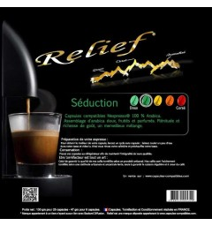 Séduction by Relief, Nespresso® compatible coffee capsules.