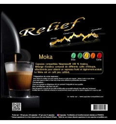 Moka by Relief, Nespresso® compatible coffee capsules.