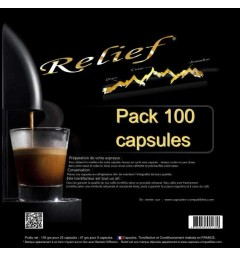 Pack of 100 Relief Capsules, Nespresso® compatible coffee assemblage.