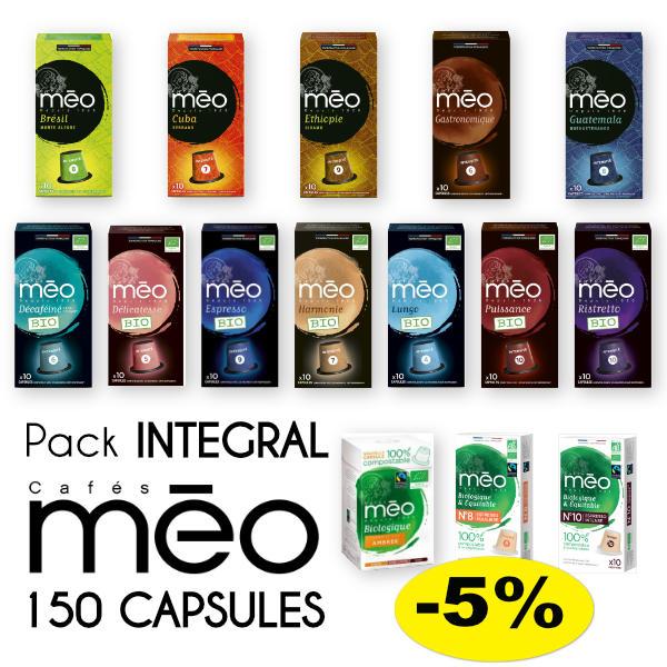 Pack intégral reprenant toutes les capsules compatibles Nespresso ® de la marque Cafés Méo